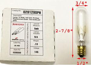 2 Pack SURE LITES Exit Lamp Light Bulb E12 15 Watts T6 Base 15W 145V LONG LIFE