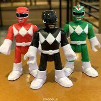 3pcs Imaginext Power Rangers Red Black Green Ranger 2.8' Figures toys