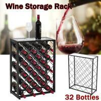 32 Bottles Wine Rack Iron Storage Display Liquor Cabinet w/Glass Table Top Black