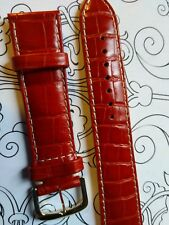 BRACELET  DE MONTRE watch band cuir Véritable VACHETTE  ROUGE   20mm    / FL 33