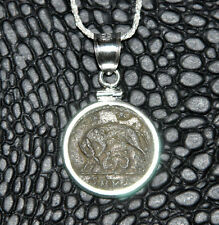 Romulus and Remus She Wolf URBS Roma Authentic Coin 925 Sterling Silver Necklace
