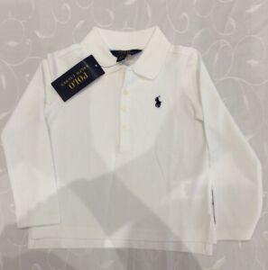 Ralph Lauren  Boy's  White Long Sleeve Polo Shirt (Size 3 Years)