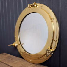 "10"" Maritime Brass Porthole Round Window Glass Nautical Boat Ship Porth Mirror"