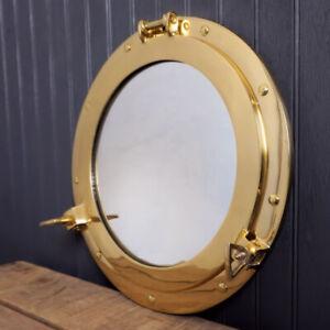 "10"" Maritime Brass Porthole Round Window Glass Nautical Boat Ship Porth Mirror"