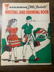scarce C 1960 Woolworths Little Students writing Drawing book school maths