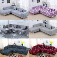 2pcs Sofa Covers L Shape Polyester Fabric Stretch Slipcovers for Sectional sofa