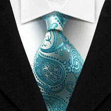 DT046 Blue Floral Classic Woven Jacquard New Casual 100%Silk Necktie Men's Tie