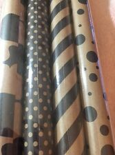 New IKEA Framstalla Gift Wrap, Wrapping Paper, Brown & Taupe Rolls, 4 Pack