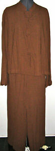 A LINE BY ANNE KLEIN BROWN ASIAN STYLE TOP WIDE LEG PANTS PETITE SMALL MEDIUM