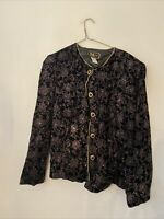 R&K Evening Women's Velvet Floral Button Front Shirt Blouse Top Size 14