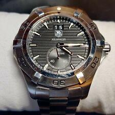 Tag Heuer WAF1014.BA0822 Silver Aquaracer Watch Mens SS Grande Date Black 300M
