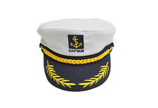 Adult Yacht Boat Captain Hat Navy Cap Sailor Costume Party Fancy Dress White