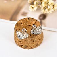 Elegant Women 925 Sterling Silver Crystal Swan Stud Earrings Jewelry Stunning