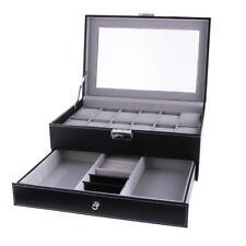 12 Slots Watch Bracelet Box Leather Display Top Verre Jewelry Jewelry Black