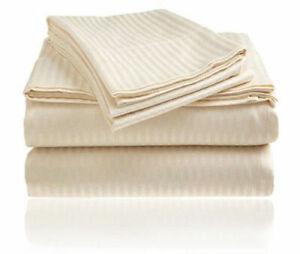 Egyptian Cotton 1200 Count 4 Piece Bed Sheet Set Deep Pocket Beige Striped