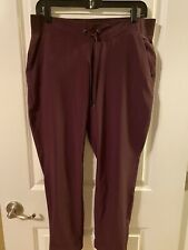 ATHLETA Poly Stretch Pull On Pants W/ Pockets Burgundy Petite Size 10 P