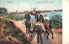 Sevilla Spain scenic view men on horses Camino de San Juan antique pc Z40403