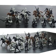 28pcs/Set  Soldier Knights Warriors Horses Medieval Figures Model Decor Mini Toy