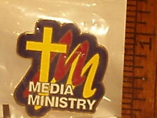 CHURCH CROSS MEDIA MINISTRY PIN VERY COLORFUL REWARD YOUR MEDIA TEAM