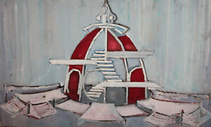 1974 large gouache painting theatre stage design collage