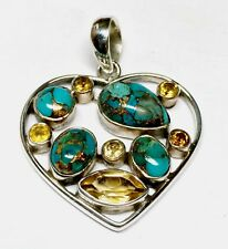 Turquoise Citrine Gemstone Pendant 925 Sterling Silver Beautiful Design Pendant