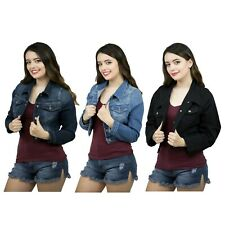 Women's Plus Size Denim Jackets Ladies Oversize Jean Button Closed Cropped Coats