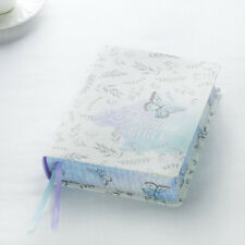 KJV Holy Bible My Promise Journaling Silky Butterfly Blue & White Bible NEW