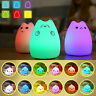 Cute Cat Nightlight LED Silicone Kids Bedroom Night Light Lamp 7 Colors Changing