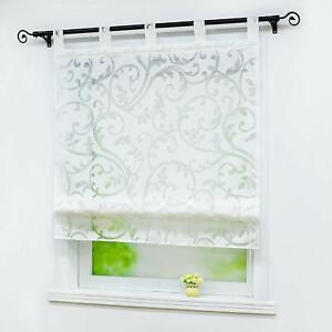 Raffrollo mit Schlaufen Raffgardine Ausbrenner Fensterrollo Küchenvorhang Weiß