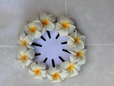 Pk of 10 Beautiful Frangipani hair clips - White with Gold Centre - approx 4.5cm