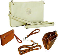 Large White Clutch Bag Multi Compartment Cross Body Purse Bag Wallet Wrist Strap