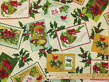 Yuletide Postcard Tag Label Christmas Fabric by Windham  by 1/2 Yard  #40394