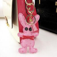 Cute Bunny Leather Tassel Pendant Charm Key Chain Purse Handbag Rabbit Keyring
