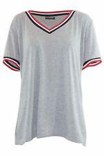 Womens Baggy Mini Dress Tops Baseball Sleeve Stripe Oversized Stretchy T Shirts