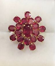 14K Solid Yellow Gold Cluster Ring with Natural Ruby Oval Cut 6.30GM Size7.25