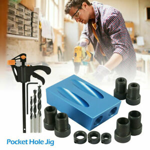 15pcs Pocket Hole Jig Kit Woodworking 15° Guide Oblique Drill Angle Hole Locator