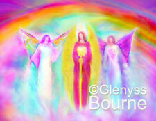 "COMMUNION OF ARCHANGELS Lg 11X14"" Spiritual Angel Art Painting by Glenyss Bourne"