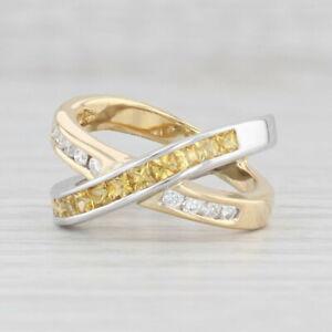 1.20ctw White Diamond Yellow Sapphire Double Band Ring 18k Yellow White Gold 6.5