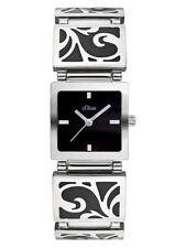 s.Oliver elegante Damen Edelstahl Armbanduhr Silber schwarz Ornament Armband SO-