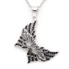Butterfly Mask Pendant Necklace w. Black Swarovski Crystals Jewelry By Controse