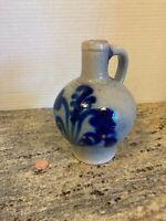 Vintage Stoneware Jug Salt Glaze Cobalt Blue Crock Vase Farm House Kitchen