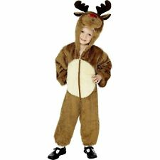 KIDS BROWN FURRY REINDEER JUMPSUIT age 4-6 boys child fancy dress costume