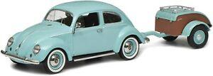 Schuco Volkswagen Beetle Ovali Turquoise Westfalia Camping Trailer 1:43