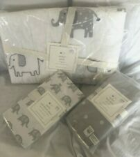 Pottery Barn Taylor Elephant Gray Toddler Nursery Quilt Bed Skirt Sheet Set Nwt
