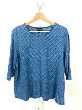 J. JILL PureJill Indigo Stripe 3/4 Sleeve Top Shirt Cotton Knit Blue Petite L PL
