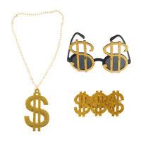 3pcs Gold Dollar Sign Money Necklace Glasses Ring Pimp Gangster Rapper Fancy