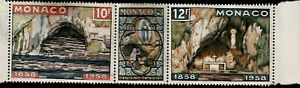1958 Religion Virgin Mary of Lourdes Grotto & Apparition Triptych Monaco Stamp