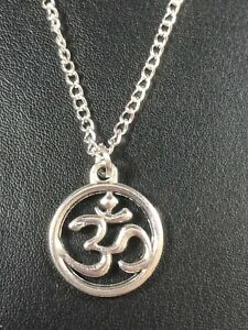 """OHM OM AUM YOGA HINDI  NECKLACE PENDANT 16 & 18"""" Silver plated chain in gift bag"""