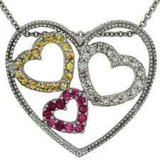 Heart Necklace with Yellow Sapphires, Pink Sapphires, And Diamonds In 14k Gold