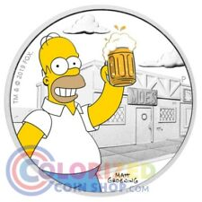 2019 1 oz $1 Tuvalu Homer Simpson Proof Silver Coin NEW